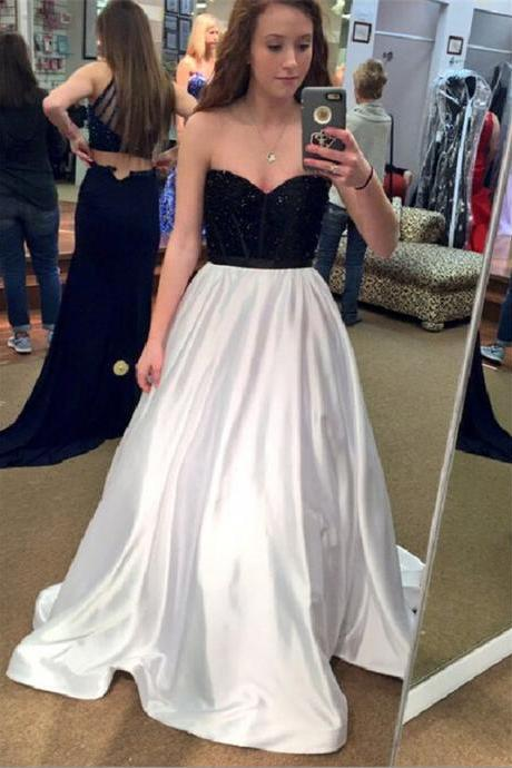 Black White Prom Dress,Sweetheart Prom Dresses,Long Evening Dress