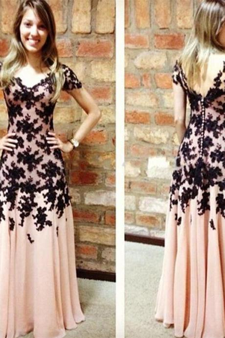 Backless Applique Prom Dress,A-Line Prom Dresses,Evening Dress