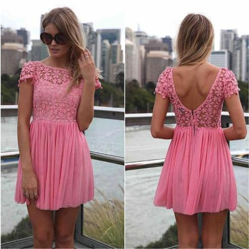 Cocktail Homecoming Dresses, Jewel Short Sleeves Homecoming Dress,Backless Dresses,Homecoming Dress