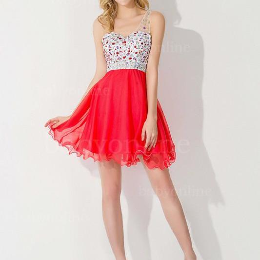 Sexy One Shoulder Homecoming Dress,A-Line Homecoming Dresses,Organza Open Back Homecoming Dresses