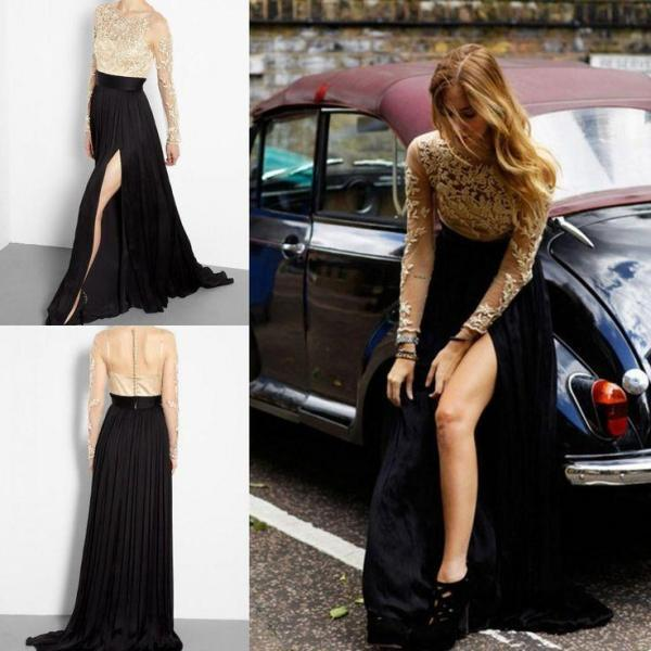 Long Sleeve Prom Dress,Applique Prom Dresses,Long Evening Dress