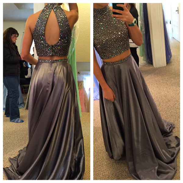 High Neck Prom Dress,Beading Prom Dresses,Long Evening Dress