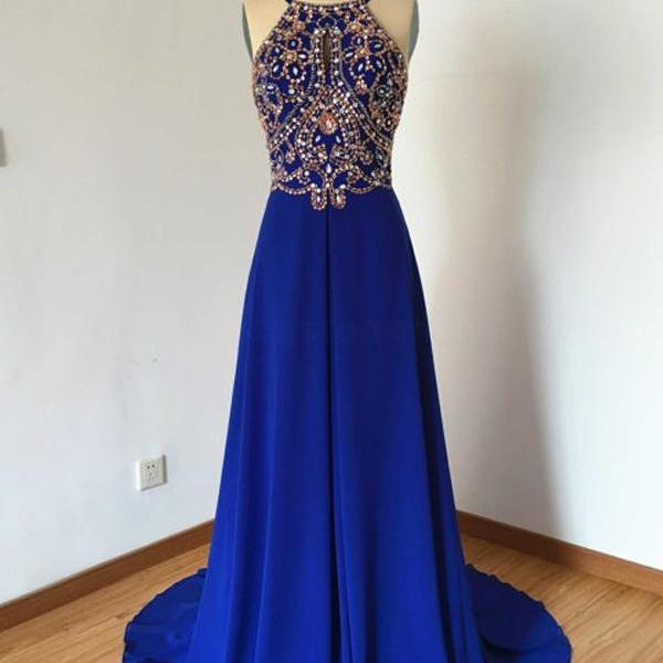 Royal Blue Prom Dress,Beading Prom Dresses,Long Evening Dress