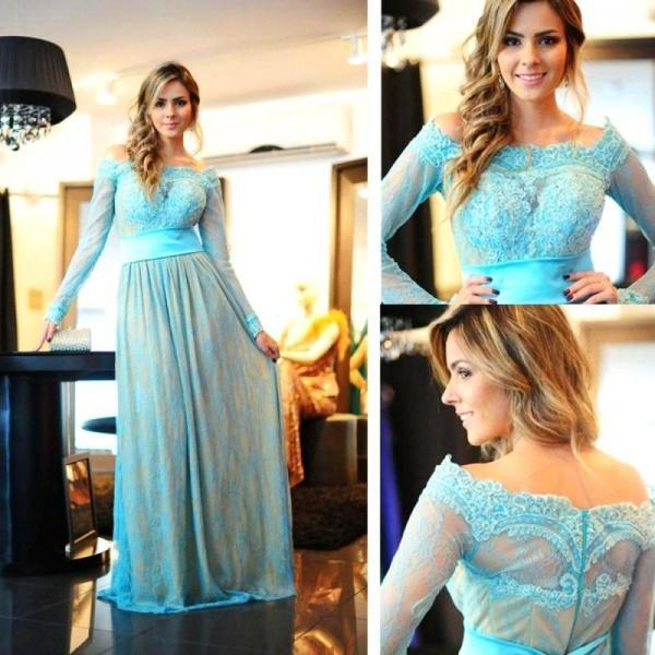 Long Sleeve Prom Dress,Lace Long Prom Dresses,Evening Dress